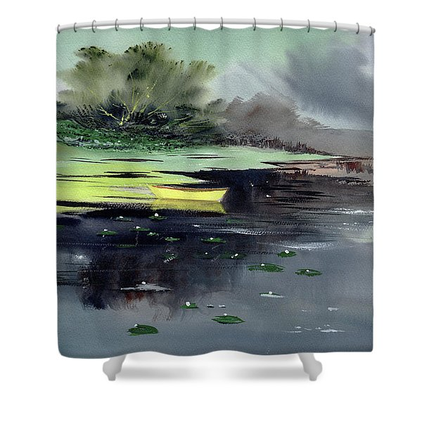 Yellow Boat Shower Curtain