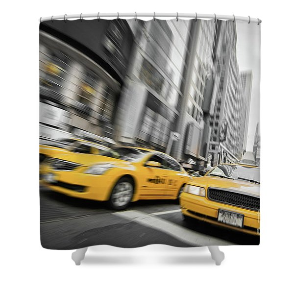 Yellow Cabs In New York Shower Curtain