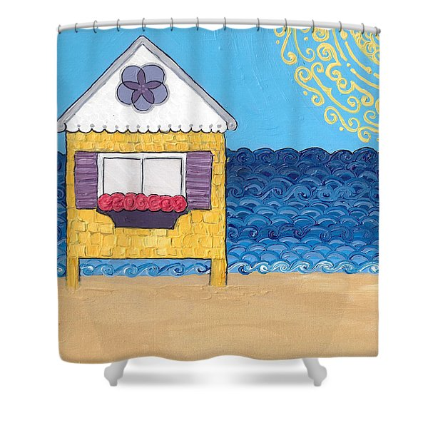 Yellow Cottage On The Beach Shower Curtain