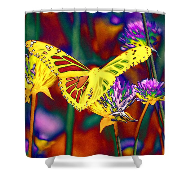 Yellow Monarch Butterfly Shower Curtain