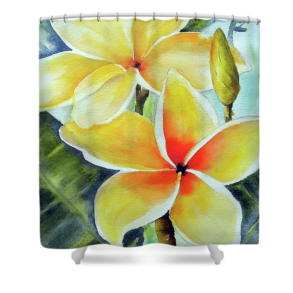 Yellow Plumeria Shower Curtain