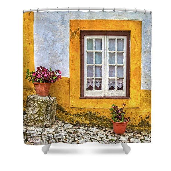 Yellow Window Of Obidos Shower Curtain