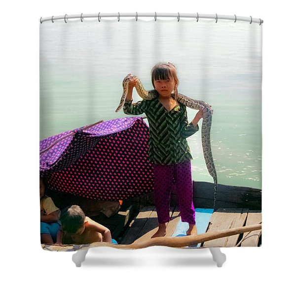 Young Girl With Snake , Cambodia Shower Curtain