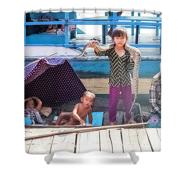 Young Girl With Snake 1, Cambodia Shower Curtain