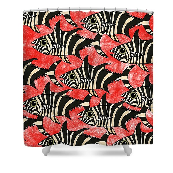 Zebra Fish 5 Shower Curtain