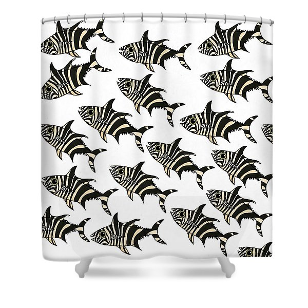 Zebra Fish 7 Shower Curtain
