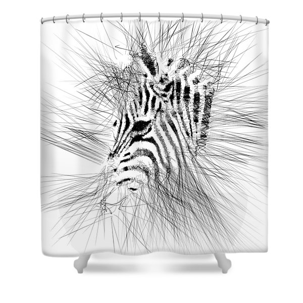Shower Curtain featuring the digital art Zebrart by ISAW Company