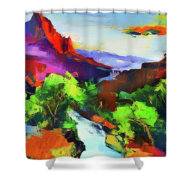 Zion - The Watchman And The Virgin River Shower Curtain