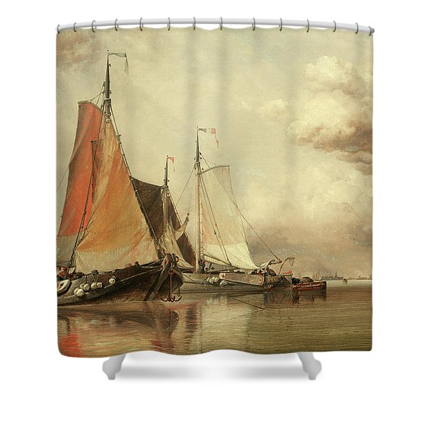 Zuyder Zee, Fishing Craft In A Calm Shower Curtain