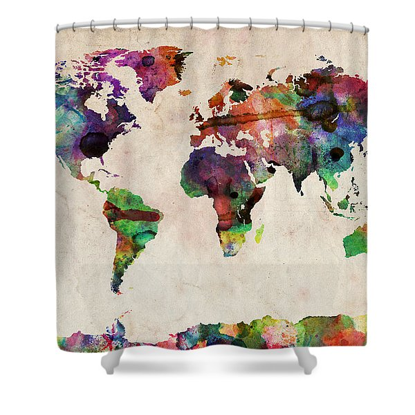 World Atlas Shower Curtains Fine Art America