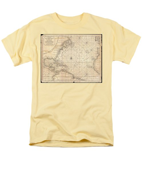 1683 Mortier Map Of North America The West Indies And The Atlantic Ocean  Men's T-Shirt  (Regular Fit) by Paul Fearn