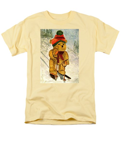 Learning To Ski Men's T-Shirt  (Regular Fit) by Angela Davies