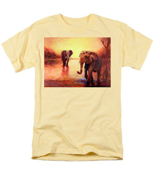 African Elephants At Sunset In The Serengeti Men's T-Shirt  (Regular Fit) by Sher Nasser