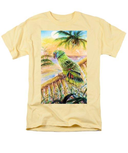 Men's T-Shirt  (Regular Fit) featuring the painting Banana Tree And Tropical Bird by Bernadette Krupa