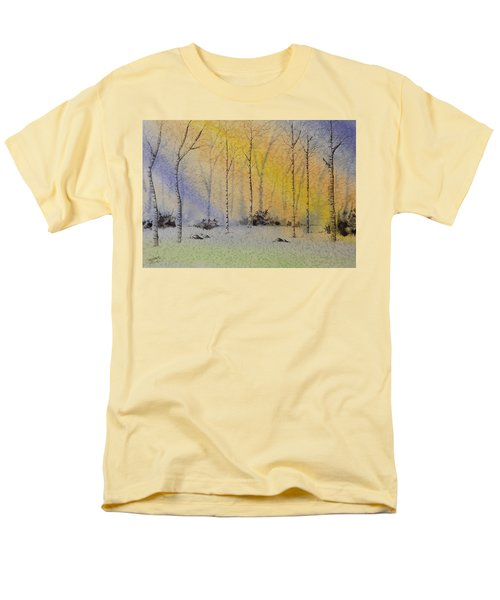 Men's T-Shirt  (Regular Fit) featuring the painting Birch In Blue by Richard Faulkner