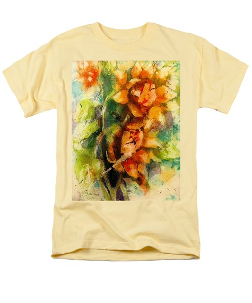 Men's T-Shirt  (Regular Fit) featuring the painting Blooming Flowers - Batik by Bernadette Krupa