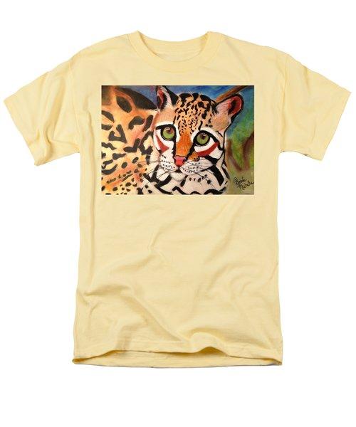 Curious Ocelot Men's T-Shirt  (Regular Fit) by Renee Michelle Wenker