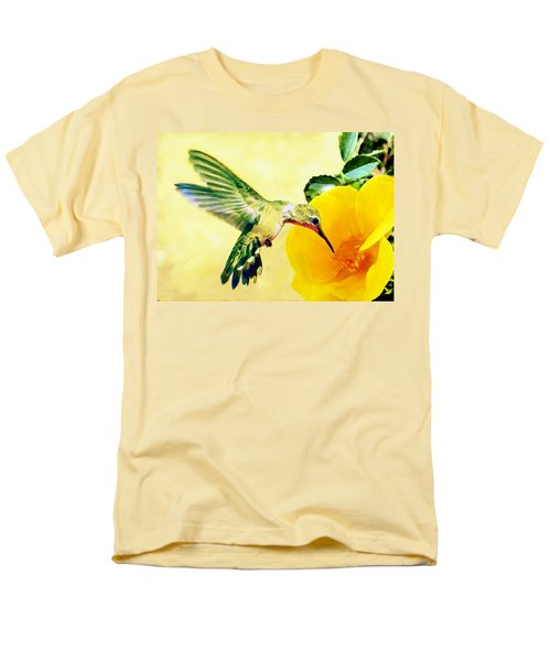 Hummingbird And California Poppy Men's T-Shirt  (Regular Fit) by Bob and Nadine Johnston