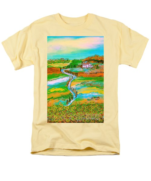Men's T-Shirt  (Regular Fit) featuring the painting  Tuscan Countryside by Loredana Messina