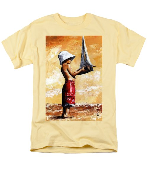 Little Boy In The Beach Men's T-Shirt  (Regular Fit) by Emerico Imre Toth