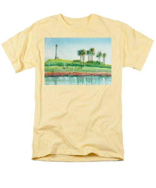 Long Beach Lighthouse Men's T-Shirt  (Regular Fit) by Debbie Lewis