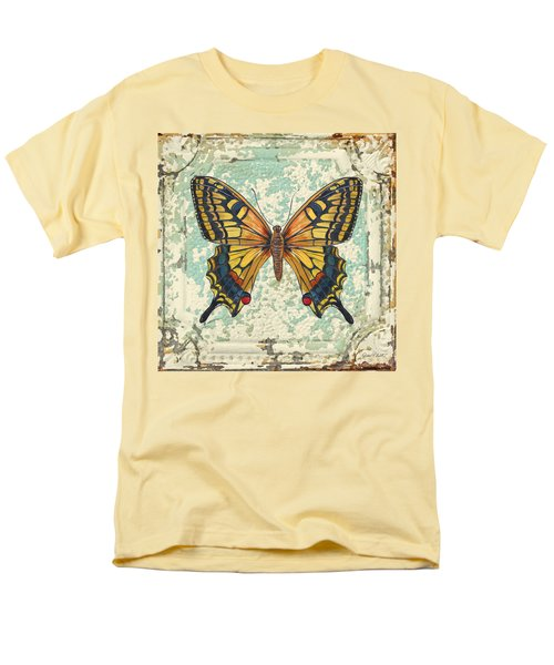 Lovely Yellow Butterfly On Tin Tile Men's T-Shirt  (Regular Fit) by Jean Plout