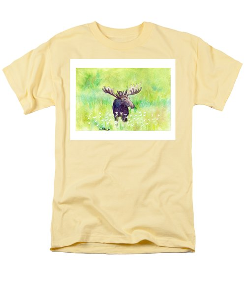 Moose In Flowers Men's T-Shirt  (Regular Fit) by C Sitton