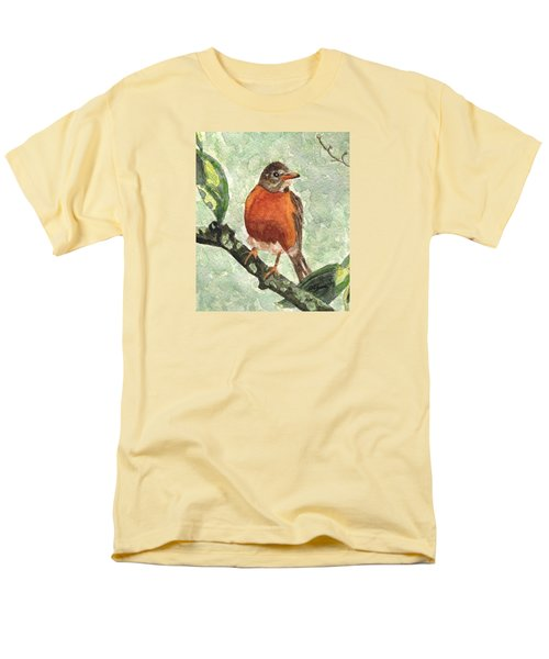 Men's T-Shirt  (Regular Fit) featuring the painting North American Robin by Angela Davies