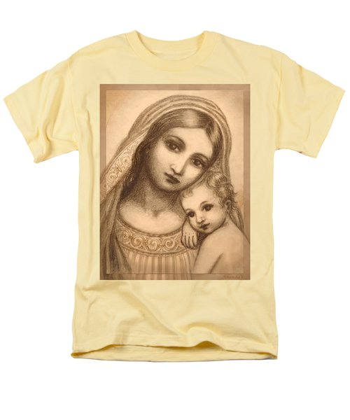 Men's T-Shirt  (Regular Fit) featuring the mixed media Oval Madonna Drawing by Ananda Vdovic