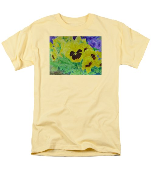 Pansies Colorful Flowers Floral Garden Art Painting Bright Yellow Pansy Original  Men's T-Shirt  (Regular Fit) by Elizabeth Sawyer