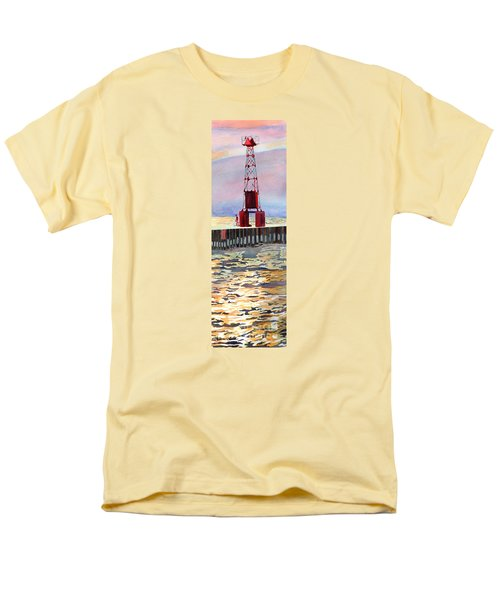 Men's T-Shirt  (Regular Fit) featuring the painting Pentwater South Pier by LeAnne Sowa