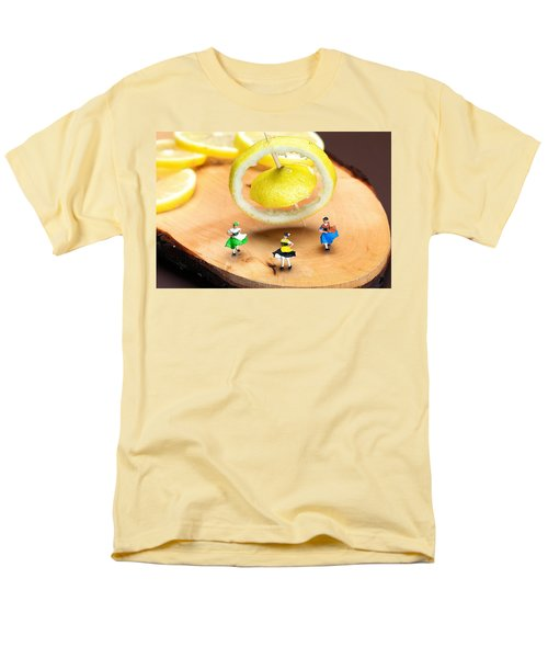 Men's T-Shirt  (Regular Fit) featuring the photograph Rotating Dancers And Lemon Gyroscope Food Physics by Paul Ge