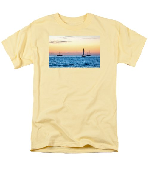 Sailboats At Sunset Off Key West Florida Men's T-Shirt  (Regular Fit) by Photographic Arts And Design Studio