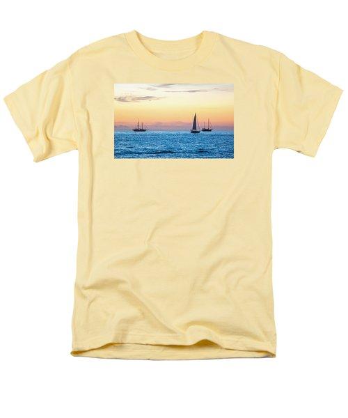 Sailboats At Sunset Off Key West Florida Men's T-Shirt  (Regular Fit)