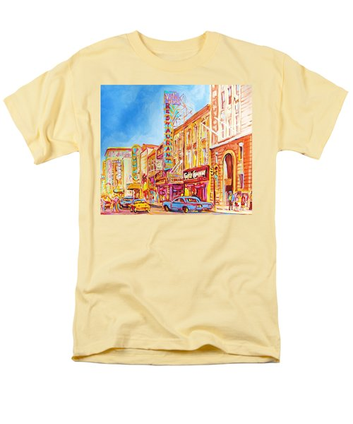 Men's T-Shirt  (Regular Fit) featuring the painting Saint Catherine Street Montreal by Carole Spandau