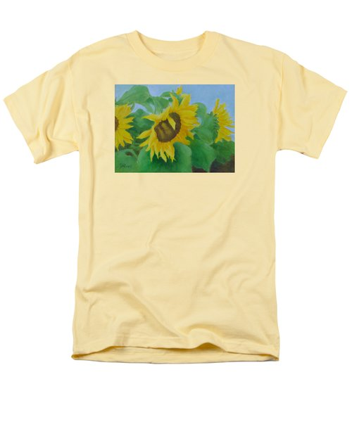Sunflowers In The Wind Colorful Original Sunflower Art Oil Painting Artist K Joann Russell           Men's T-Shirt  (Regular Fit) by Elizabeth Sawyer