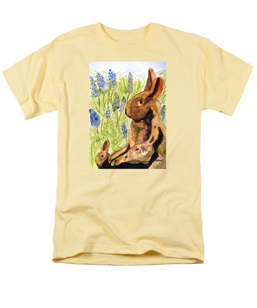 Men's T-Shirt  (Regular Fit) featuring the painting Terra Cotta Bunny Family by Angela Davies
