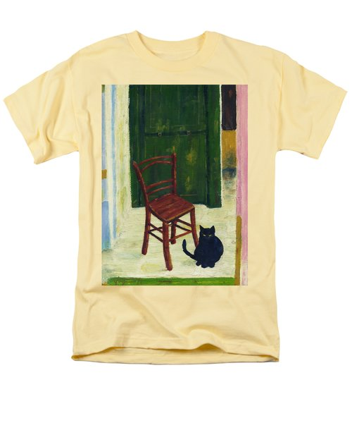 Men's T-Shirt  (Regular Fit) featuring the painting The  Black Cat by Hartmut Jager