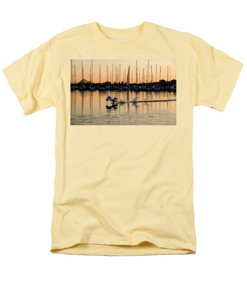 The Golden Takeoff - Swan Sunset And Yachts At A Marina In Toronto Canada Men's T-Shirt  (Regular Fit) by Georgia Mizuleva