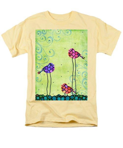 Three Birds - Spring Art By Sharon Cummings Men's T-Shirt  (Regular Fit) by Sharon Cummings