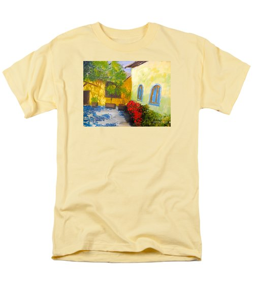 Men's T-Shirt  (Regular Fit) featuring the painting Tuscany Courtyard 2 by Pamela  Meredith