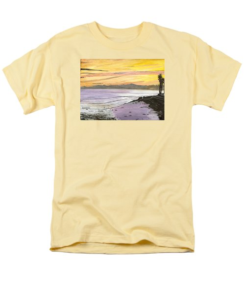 Men's T-Shirt  (Regular Fit) featuring the painting Ventura Point At Sunset by Ian Donley
