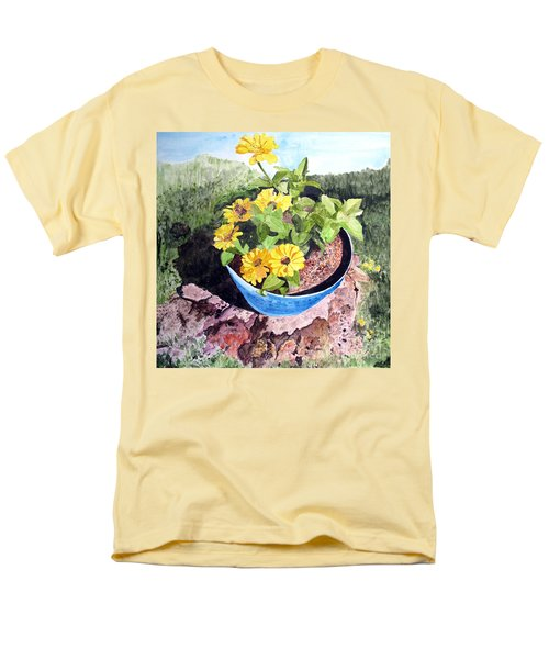 Zinnia On A Tree Stump Men's T-Shirt  (Regular Fit) by Sandy McIntire