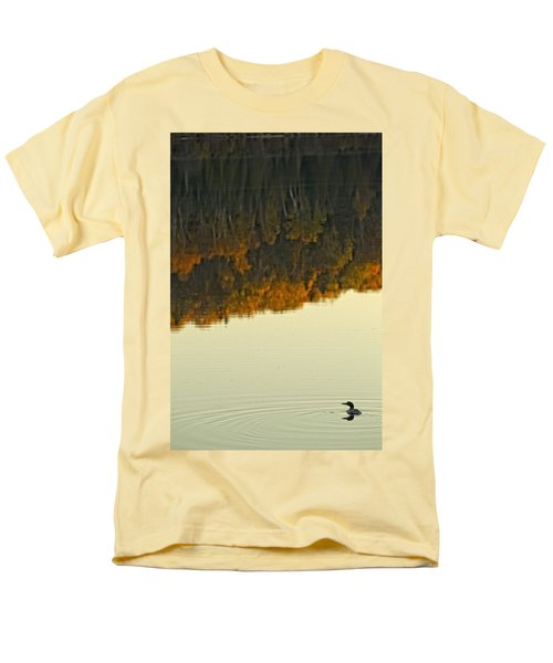 Loon In Opeongo Lake With Reflection Men's T-Shirt  (Regular Fit) by Robert Postma