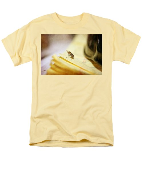 Men's T-Shirt  (Regular Fit) featuring the photograph A Red Eyes Fly On The Yellow Paper by Ester  Rogers