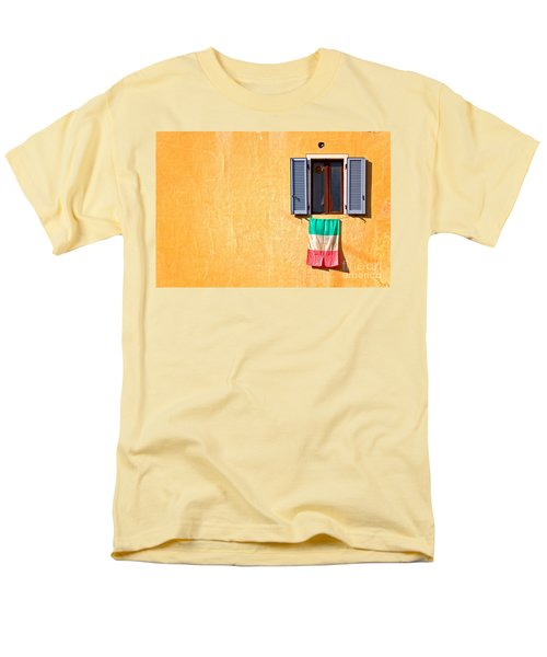 Italian Flag Window And Yellow Wall Men's T-Shirt  (Regular Fit) by Silvia Ganora