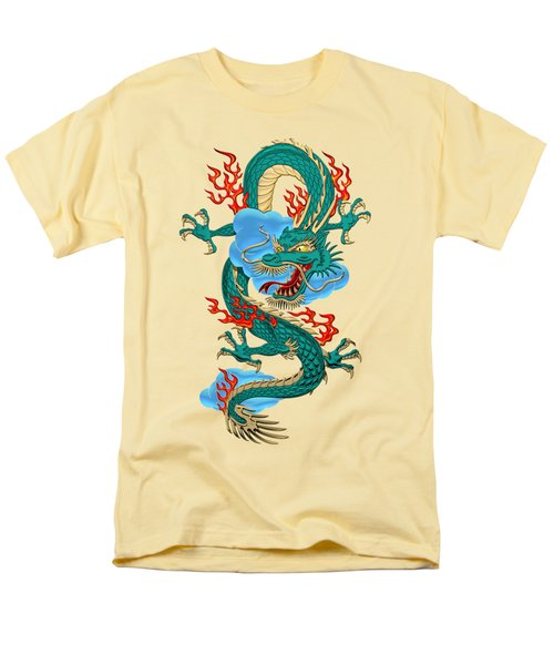 The Great Dragon Spirits - Turquoise Dragon On Rice Paper Men's T-Shirt  (Regular Fit) by Serge Averbukh