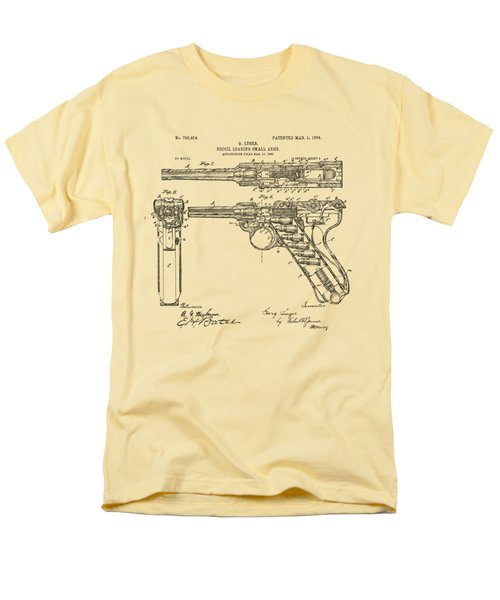 Men's T-Shirt  (Regular Fit) featuring the drawing 1904 Luger Recoil Loading Small Arms Patent - Vintage by Nikki Marie Smith