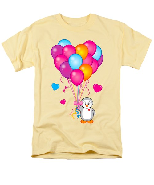 Baby Penguin With Heart Balloons Men's T-Shirt  (Regular Fit) by A