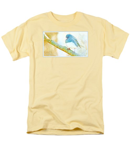 Men's T-Shirt  (Regular Fit) featuring the digital art Slate Colored Junco Snowbird Male Animal Portrait by A Gurmankin